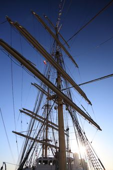 Free Ship Tackles, Rigging On A Old Frigate Stock Photo - 16911270