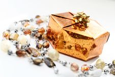 Free Golden Gift Box With Decoration Stock Photo - 16911410
