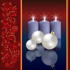 Free Christmas Greeting With Decoration And Candles Royalty Free Stock Photography - 16911467
