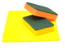Free Yellow Rag And Kitchen Sponge Royalty Free Stock Photography - 16912087
