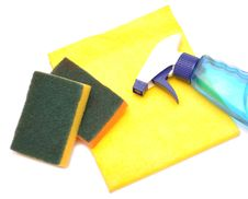 Free Yellow Rag And Kitchen Sponge Stock Images - 16912114