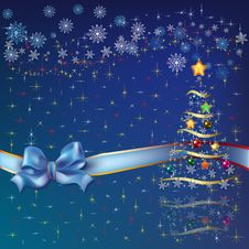 Christmas Tree With Blue Ribbon Royalty Free Stock Image