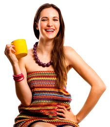 Free Beauty Young Woman With Yellow Cup Stock Photography - 16913072