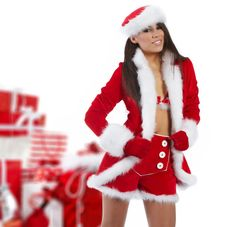 Free Girl Wearing Santa Claus Clothes Stock Images - 16913184