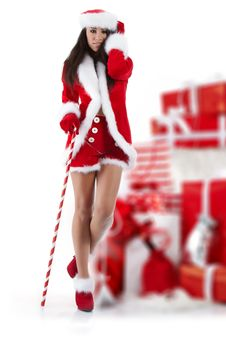 Free Sexy Girl Wearing Santa Claus Clothes Royalty Free Stock Photos - 16913258