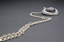 Free Silver Necklace With Heart-shaped Pendant Stock Photography - 16915032