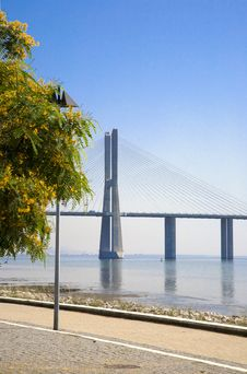 Lisbon Waterfront View Of The Vasco Da Gama Bridge Stock Photography