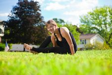 Free Young Girl Doing Yoga Exercise Alone Stock Image - 16915821