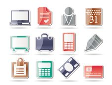 Business And Office Icons Royalty Free Stock Photos