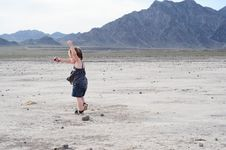 Free Little Girl Dancing In Desert Stock Images - 16916714