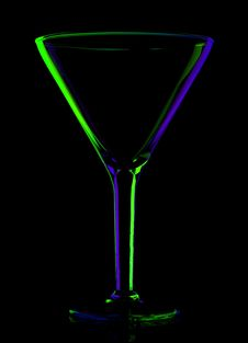 Free Transparent Colored Empty Martini Glass On Black Royalty Free Stock Photography - 16917607