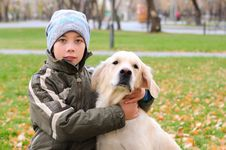 Free Boy Playing In Autumn Park Royalty Free Stock Image - 16917656