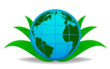 Free Blue Globe With Green Leaf On Background Royalty Free Stock Images - 16917979