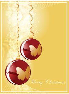 Free Christmas Ball On Gold Shine Background Stock Photography - 16918022