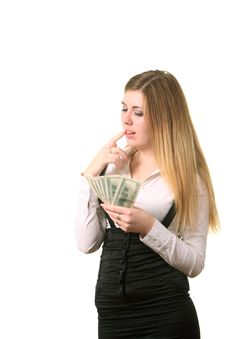 Free Girl Count A Dollars Stock Photography - 16918112