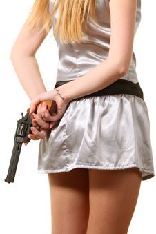 Free The Woman Hold A Revolver Royalty Free Stock Photo - 16918115