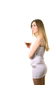 Blond In A Dress Drink Martini Royalty Free Stock Image