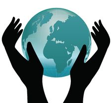 Earth In Human Hands Stock Photo