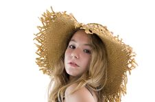Free Blond Teenager With Straw Hat Royalty Free Stock Photos - 16918658