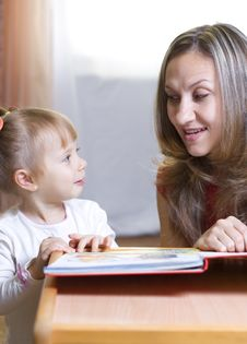 Free Mother And Daughter Learning At Home Royalty Free Stock Photo - 16919045