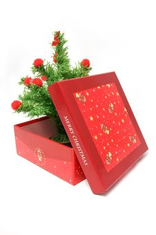 Free Red Gift Box And Christmas Tree Royalty Free Stock Image - 16919736
