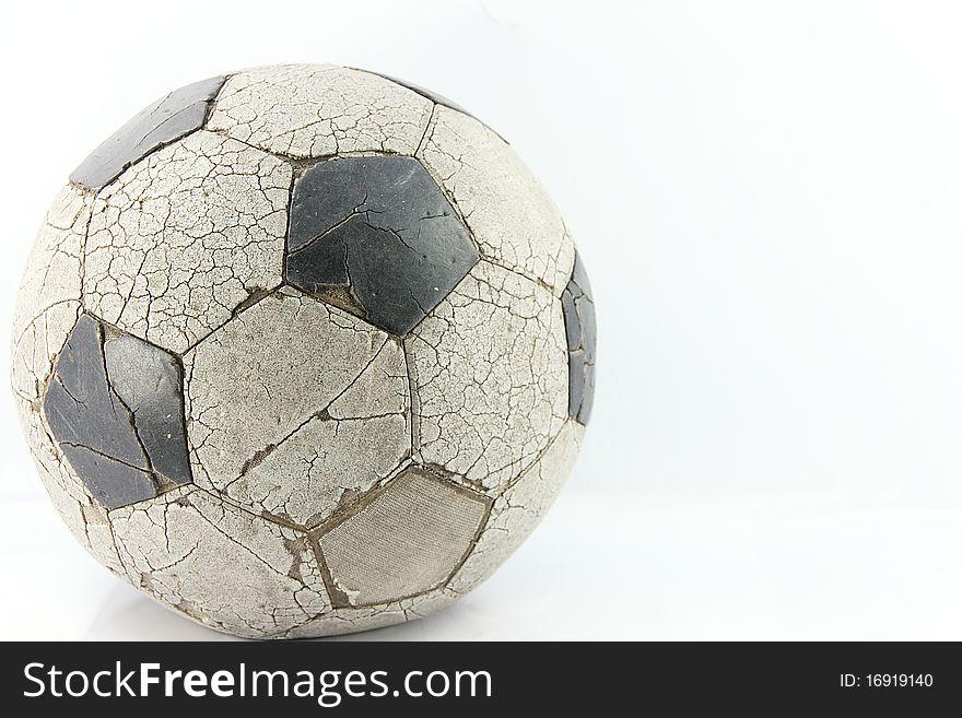 Old soccer ball on white