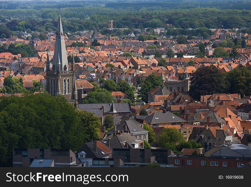 Panoramic view of Bruges.