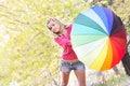 Free Happy Girl With Colorful Umbrella Stock Photo - 16929410