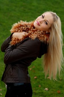 Free Blonde In Brown Leather Jacket Stock Images - 16921414