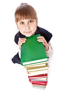 Schoolgirl With Books Is Looking Up Stock Images