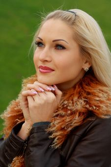 Free Blonde In Brown Leather Jacket Royalty Free Stock Photo - 16921575