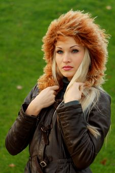 Free Blonde In Brown Leather Jacket Stock Photo - 16921610