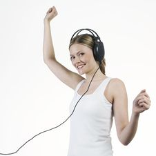 Free Young Woman Listening Music With Headphones Royalty Free Stock Photo - 16921705
