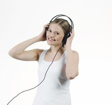 Free Young Woman Listening Music With Headphones Stock Photo - 16921720