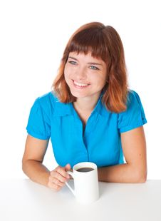 Free A Smiling Girl Is Drinking A Coffee Royalty Free Stock Image - 16921726