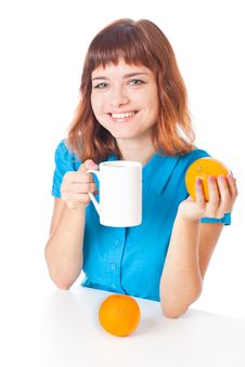 Free Teen-girl With Cup Of Coffee Royalty Free Stock Images - 16921739