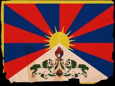 Old Vintage Flag Tibet Stock Photo