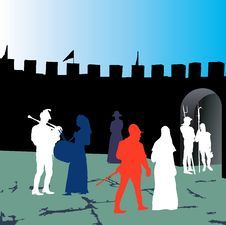 Free Medieval People Silhouettes. Royalty Free Stock Photo - 16923435