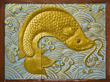 Fish Carve Gold Paint Royalty Free Stock Image