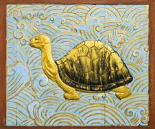 Turtle Carve Gold Paint Royalty Free Stock Image