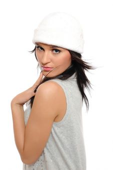 Expressions.Beautiful Winter Woman In A Hat Royalty Free Stock Photos