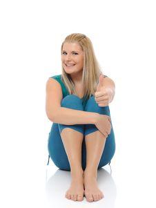 Free Beautiful Happy Woman Doing Fitness Pilates Stock Image - 16925171