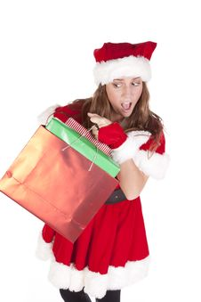 Mrs Santa Gifts Excited Royalty Free Stock Photos