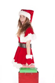 Mrs Santa With Bag Of Gifts Stock Photography