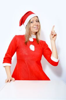 Free Girl In Santa Red Hat Royalty Free Stock Photography - 16925807