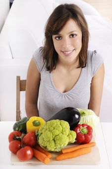 Free Young Woman With Vegetables Stock Image - 16926171