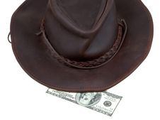 Cowboy Hat And 100 Dollar Bill Stock Photography