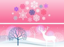 Free Two Bright Winter Banners Stock Photos - 16927053