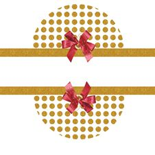 Free Gold Dots Red  Bows Background Royalty Free Stock Photography - 16927167