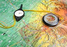 Free Compass, Curvimeter, Map Royalty Free Stock Photos - 16927778